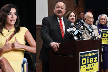 A national non-partisan organization helmed by actress Eva Longoria (left) endorsed mayoral candidate Nelson Diaz. (AP Photo; Kimberly Paynter/WHYY)