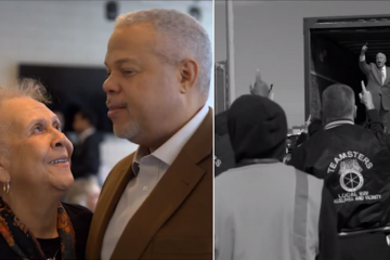The first Tony Williams campaign commercial features a family vibe (left) and footage from a recent Teamsters endorsement event in South Philadelphia (right). (Stills from YouTube version of commercial)