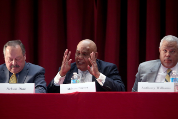 A night before he fended off a ballot challenge, Milton Street held court at a South Philly education forum. (Steph Aaronson/via The Next Mayor Partnership)