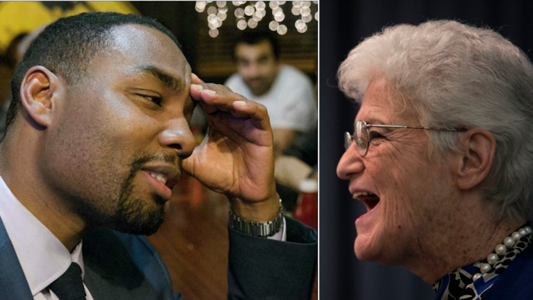 After Lynne Abraham released polling data that showed she has a sizable lead, Doug Oliver responded with data of his own that spoke to the contrary. (Oliver photo, Bas Slabbers/for NewsWorks; Abraham, Steph Aaronson/via The Next Mayor partnership)