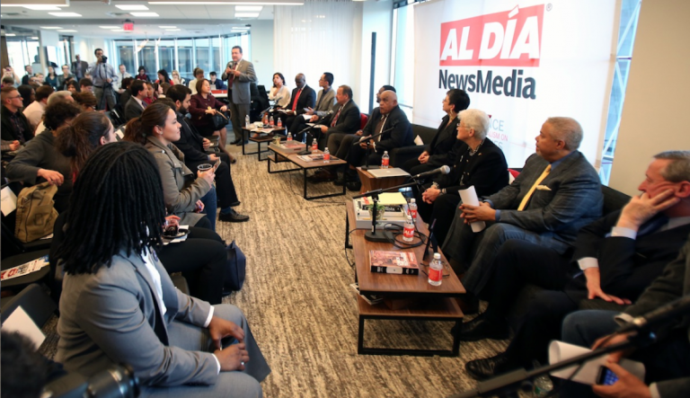 All six Democratic mayoral candidates engaged in a 'conversation' with journalists and attendees at Monday night's Al Dia event. (Steph Aaronson/via The Next Mayor partnership)