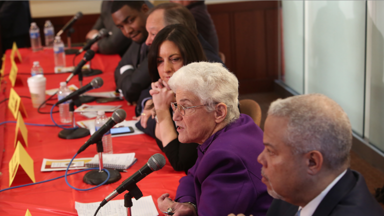 Lynne Abraham, shown here at a Central High School mayoral forum this week, released her education-policy plan on Thursday. (Stephanie Aaronson/via The Next Mayor partnership)