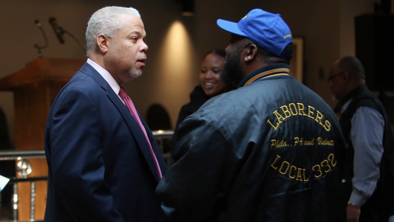 Mayoral candidate Tony Williams was endorsed by Laborers District Council 332 at a Thursday morning event. (Stephanie Aaronson/via The Next Mayor partnership)