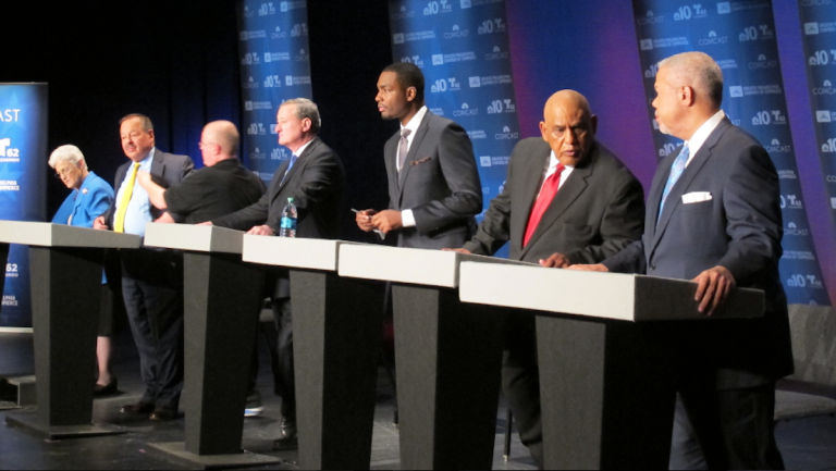 The candidates in this week's NinetyNine Quotes Quiz await the start of Tuesday night's forum. (Katie Colaneri/WHYY)