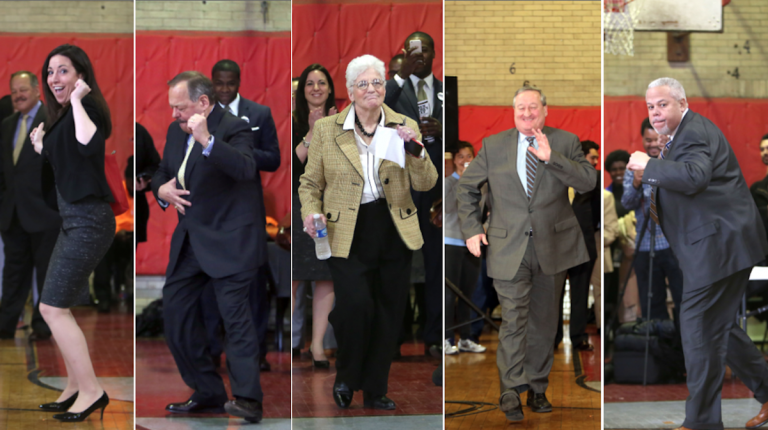 The mayoral candidates danced their way into Wednesday's forum at Dobbins High School. (Stephanie Aaronson/via The Next Mayor Partnership)