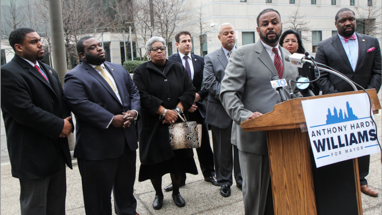 City Councilman Curtis Jones Jr. said those endorsing Tony Williams' mayoral candidacy represent a wide swath of the city. (Kimberly Paynter/WHYY)