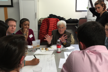 Lynne Abraham and her group at Friday night's 'Mayoral MillenniaLab' event. (Brian Hickey/WHYY)