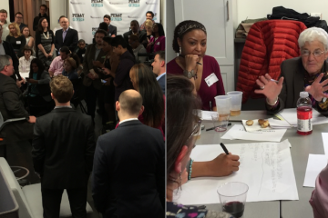 Jim Kenney (left) and Lynne Abraham (right) teamed up with millenials 'to develop unique ideas for Philadelphia's economic growth' on Friday night. (Brian Hickey/WHYY)