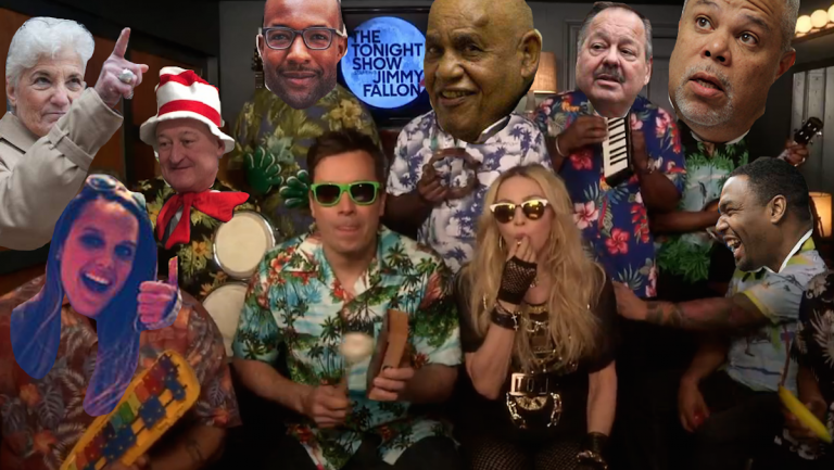 The answers from this week's mayoral-quotes quiz at The Roots, playing with Jimmy Fallon and Madonna. (NewsWorks illustration with original photo via NBC10)