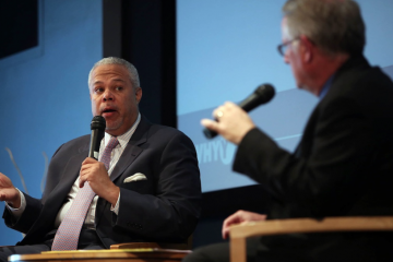 Mayoral candidate Anthony Hardy Williams speaks with WHYY's Chris Satullo during Wednesday morning's candidates forum. (Stephanie Aaronson/via The Next Mayor partnership)