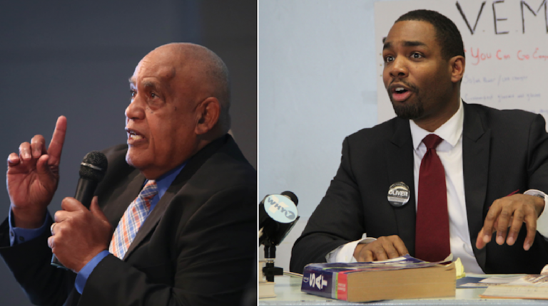 A couple of hours after Milton Street spoke at the WHYY/PenJerDel mayoral forum, Doug Oliver released an education-plan addendum. (Stephanie Aaronson/The Next Mayor; Emma Lee/WHYY)