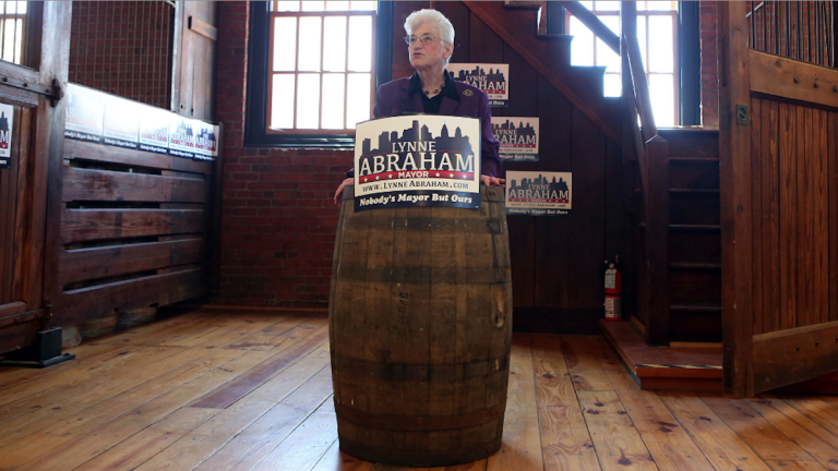 Mayoral candidate Lynne Abraham visited the New Liberty Distillery on Thursday 'to release her comprehensive jobs plan and celebrate the growth of the craft industry.' (Stephanie Aaronson/via The Next Mayor partnership)
