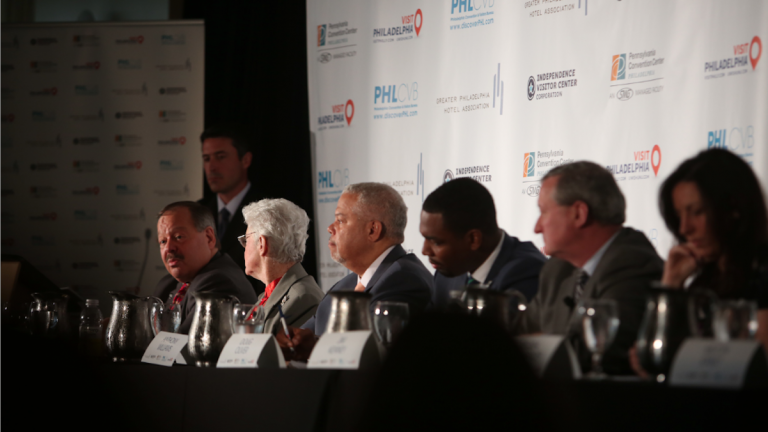 The candidates gathered Friday for a hospitality and tourism forum on Independence Mall. (Stephanie Aaronson/via The Next Mayor partnership)