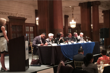 Seven candidates took the stage at Tuesday morning's 'future of affordable housing' mayoral forum. (Brian Hickey/WHYY)