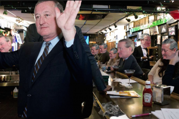 Jim Kenney couldn't make it to Quizzo night in East Falls on Tuesday. This is an imagination of what it would have looked like had nine Jim Kenney's showed up, though. (NewsWorks, file illustration)