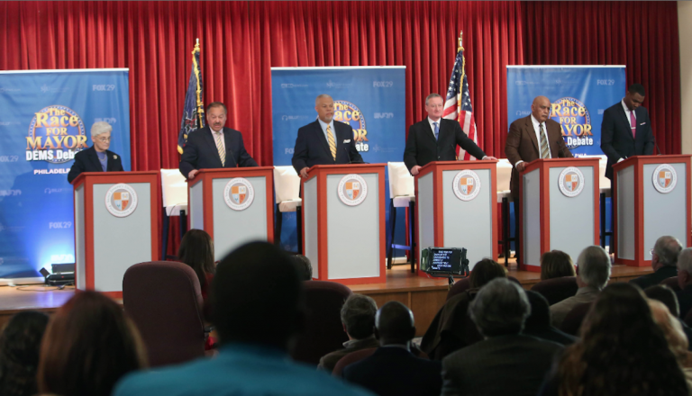 The six Democratic candidates for mayor of Philadelphia on stage for Thursday's Fox29 debate. (Stephanie Aaronson/via The Next Mayor partnership)