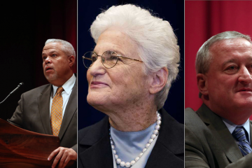 Lynne Abraham asked Tony Williams and Jim Kenney to swear off super-PAC money in March. (NewsWorks, file art)