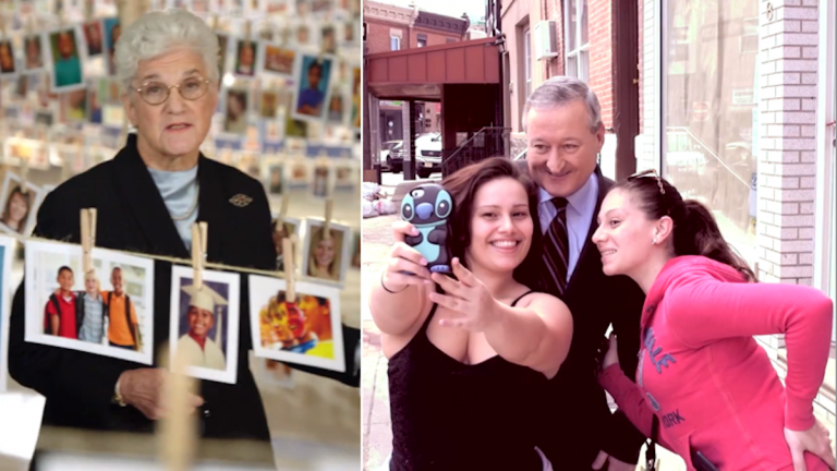 Screengrabs from the new Lynne Abraham and Jim Kenney campaign-funded ads. (Via YouTube)
