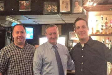 Mayoral candidate Jim Kenney stopped in at Billy Murphy's Irish Saloonery Quizzo night on Tuesday. Pictured here with manager Michael Murphy (left) and bartender Jonathan Kennedy. (Image via the Kenney campaign Twitter feed)