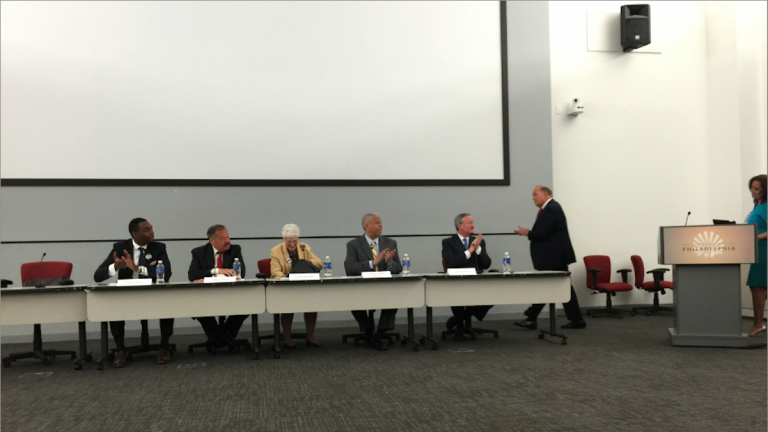 Ed Rendell (sixth from left), after kicking off Monday morning's Rendell Center for Civics and Civic Engagement mayoral forum at school-district headquarters. (Brian Hickey/WHYY)
