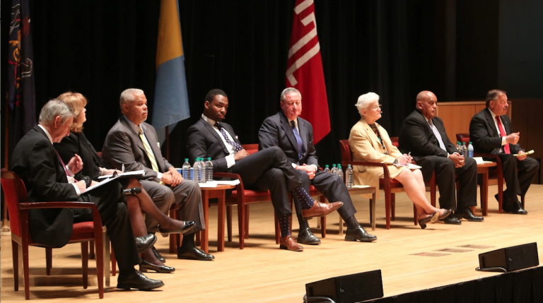 The six Democratic mayoral candidates fielded questions from WHYY's Dave Davies and the Daily News' Sandra Shea during Monday night's Next Mayor Debate. (Stephanie Aaronson/via The Next Mayor partnership)