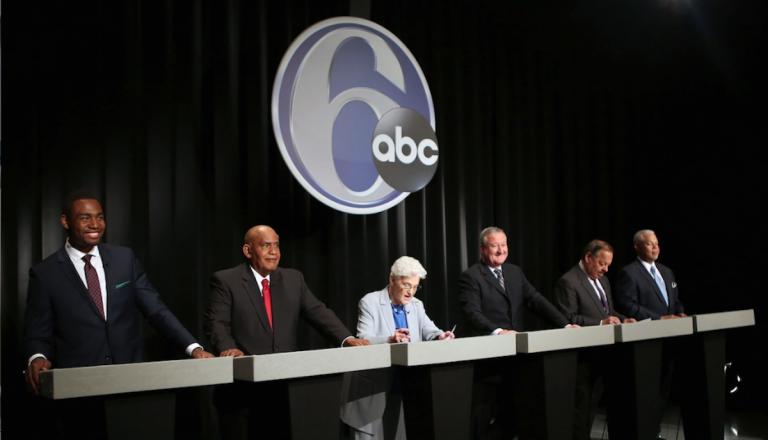 The six Democratic candidates of mayor of Philadelphia were all smiles as Tuesday night's debate. (Stephanie Aaronson/via The Next Mayor partnership)