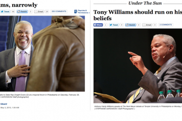 Dueling opinions. (Screen grabs from the Next Mayor partnership's Philly.com)