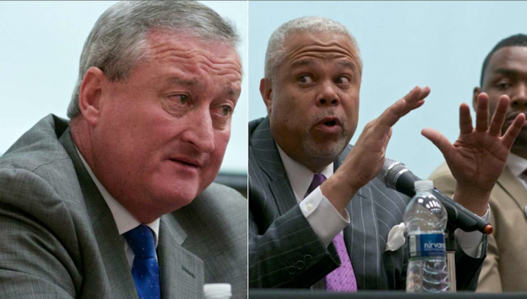 Jim Kenney and Anthony Hardy Williams were at Wednesday night's mayoral forum in Mt. Airy at separate times. (Bastiaan Slabbers/for NewsWorks)