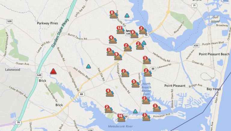 A JCP&L outage map depicting areas within northern Brick without power shortly after 9:00 p.m.
