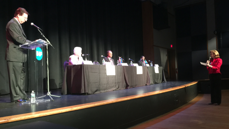Global Philadelphia's 'Globally-Minded Leadership' mayoral forum was held inside an International House auditorium on Monday afternoon. (Brian Hickey/WHYY)