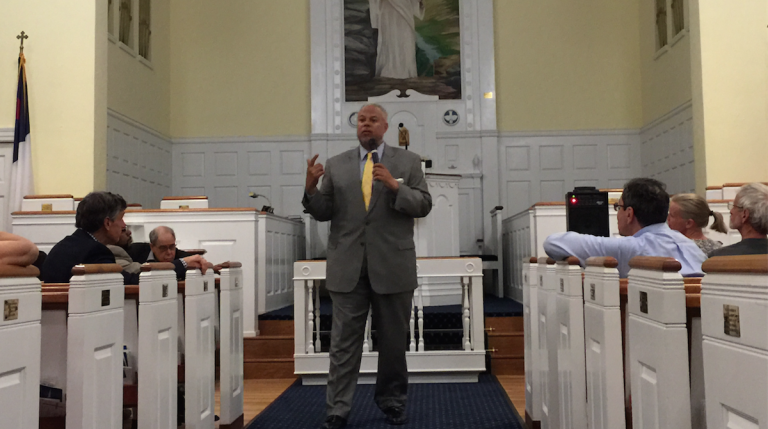 Mayoral candidate Anthony Hardy Williams was the last mayoral candidate of the night to speak to the East Falls Community Council. (Brian Hickey/WHYY)