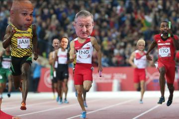Usain Bolt during the Commonwealth Games 2014 in Glasgow, Scotland (Original photo, AP Photo/Scott Heppell; NewsWorks/illustration)
