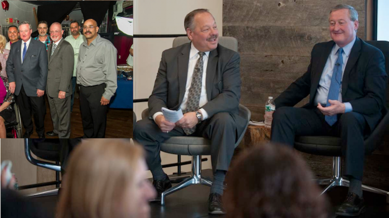 Nelson Diaz and Jim Kenney share a laugh after Diaz asked whether Kenney intentionally turned his microphone off at a recent forum. Inset: The photo at the heart of the Diaz campaign's question. (Tracie Van Auken/for NewsWorks)