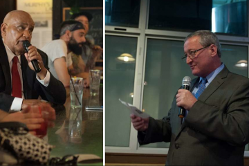 Mayoral candidate Milton Street (left) posed a question of Jim Kenney. (NewsWorks/file art)
