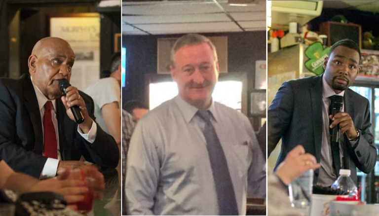 Mayoral candidates Milton Street, Jim Kenney and Doug Oliver at Quizzo night in East Falls. (NewsWorks, file art)