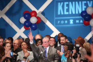 Jim Kenney celebrates his landslide victory in Tuesday's Democratic-mayoral primary. (Stephanie Aaronson/via The Next Mayor partnership)