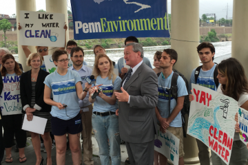 Jim Kenney speaks at Monday's press conference held on a Fairmount Water Works gazebo to celebrate the restoration of Clean Water Act protections. (Brian Hickey/WHYY)