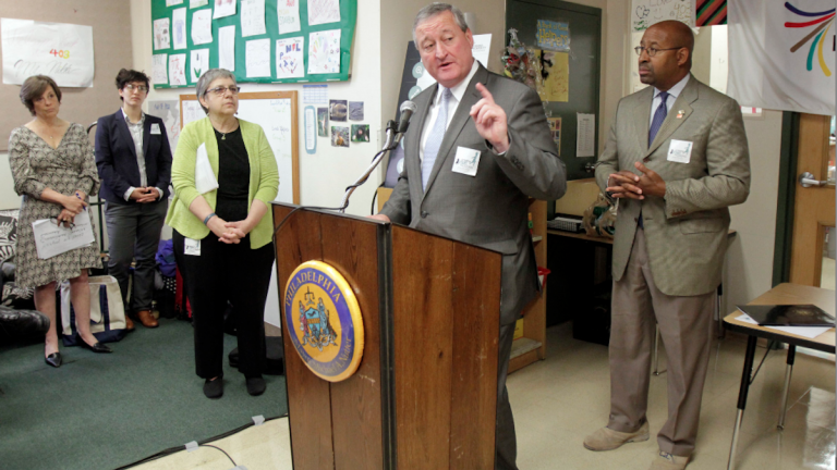 Mayor Michael Nutter, mayoral candidate Jim Kenney and city Executive Director Eva Gladstein (R-L) spoke at Tuesday morning's early childhood-education plan launch. (Stephanie Aaronson/via The Next Mayor partnership)
