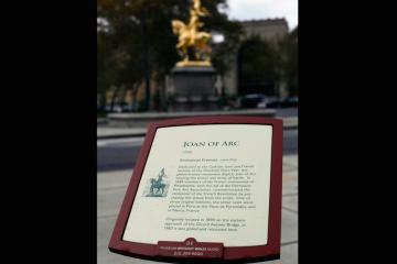 The Emmanuel Fremiet sculpture of Joan of Arc, background, in Philadelphia. (AP Photo/Matt Rourke)