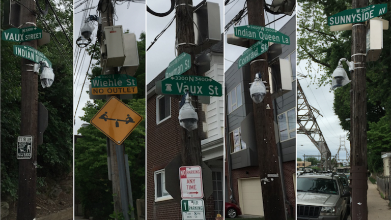 Five surveillance cameras installed this week throughout a portion of East Falls are not yet active. (Brian Hickey/WHYY)
