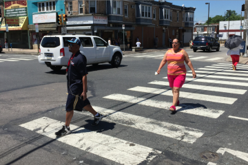 According to the Bicycle Coalition of Greater Philadelphia, N. Fifth St. and Olney Ave. is the city's top site for pedestrian involved crashes. (Brian Hickey/WHYY)