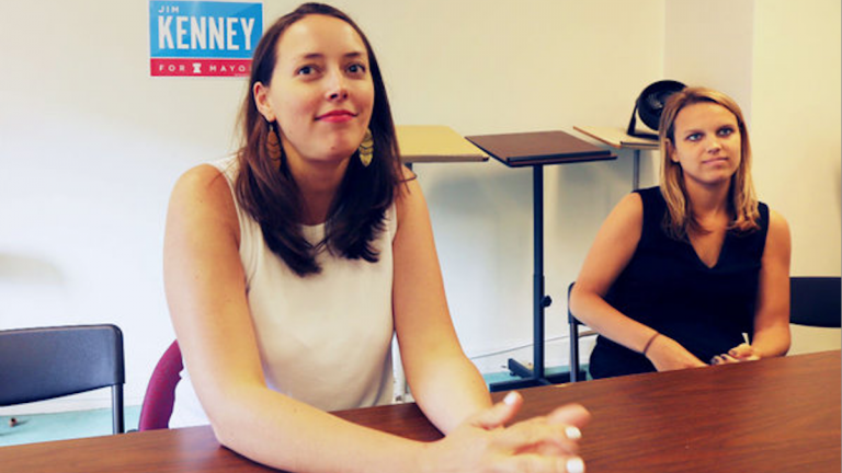 Jim Kenney's campaign manager Jane Slusser (left) and communications director Lauren Hitt (right) at campaign headquarters. (David Swanson via The Next Mayor partnership)