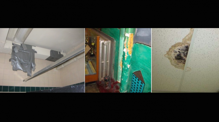 (L to R) Damaged air duct at Jenks; exposed insulation at Jenks; and water damage at Cook-Wissahickon (Courtesy of the Philadelphia Office of the Controller)