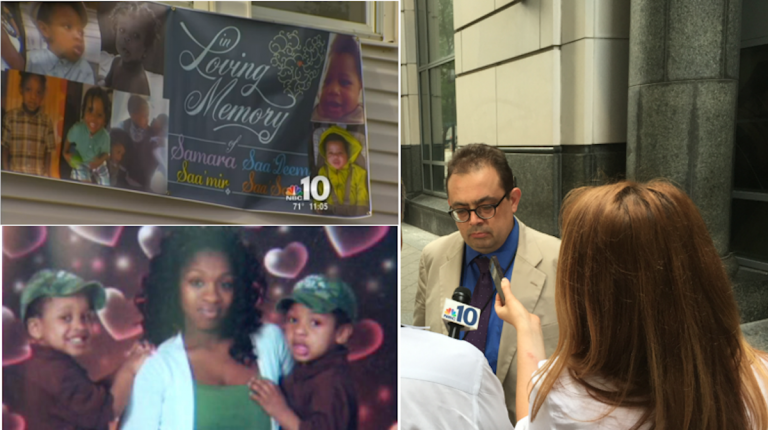 Assistant District Attorney Thomas Lipscomb (right) is interviewed after a judge convicted Khusen Akhmedov of four counts of third-degree murder for killing Samara Banks and three of her four young sons. (Left images via NBC10; Brian Hickey/WHYY)