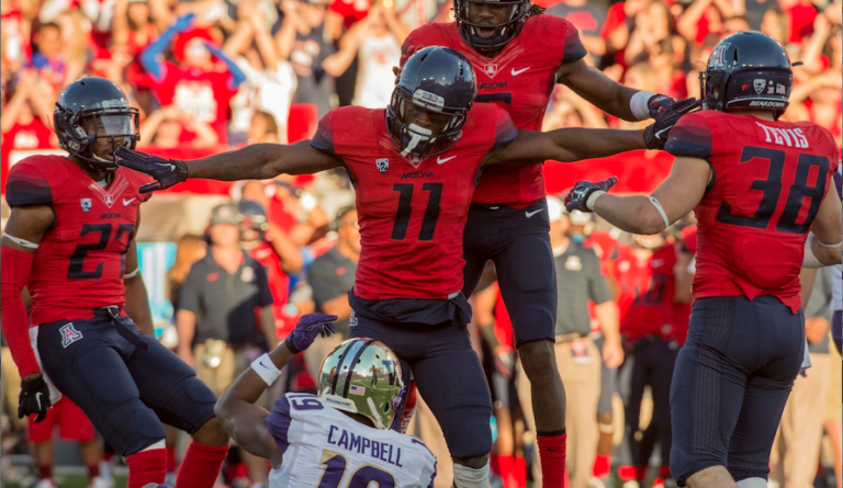 Germantown High grad William Parks celebrates a stop for the Arizona Wildcats. (Photo courtesy of Arizona Athletics)