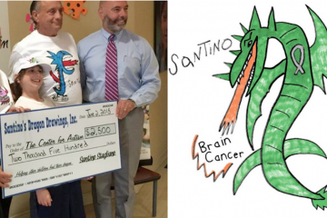 Santino Stagliano, shown donating $2,500 to The Center for Autism, created a T-shirt design to help a pediatric brain-cancer initiative at CHOP. (NewsWorks/file art; Facebook)
