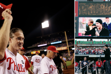 (Left) Philadelphia Phillies' Chase Utley acknowledges cheers from the crowd as he walks off the field Wednesday night. (Right) Utley addresses the crowd during the celebration of their World Series Championship, Friday, Oct. 31, 2008, at Citizens Bank. Utley used colorful language as he expressed his emotions on winning the championship.(AP Photos/Matt Slocum, Tom Mihalek)