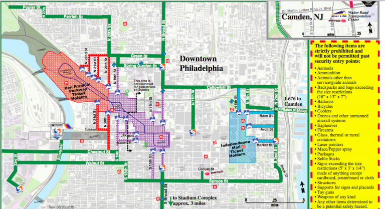 The green lines indicate walking routes to papal events. (Courtesy of the U.S. Secret Service)