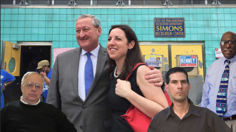 While Jim Kenney and Melissa Murray Bailey (second and third from left) are invited to all four mayoral debates, third-party candidates Jim Foster, Boris Kindij and Osborne Hart will only appear at one. (NewsWorks file art/photoshop)