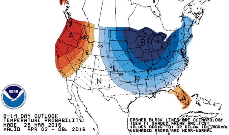 A National Weather Service Climate Prediction Center 8-14 day outlook predicting the likelihood of below normal temperatures.